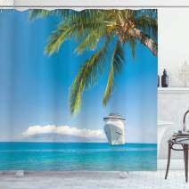 """Ambesonne Nautical Shower Curtain, Large Cruise Ship Heads to Tropical Sandy Beach Exotic Panorama Coastal Theme, Cloth Fabric Bathroom Decor Set with Hooks, 84"""" Long Extra, Turquoise Green"""