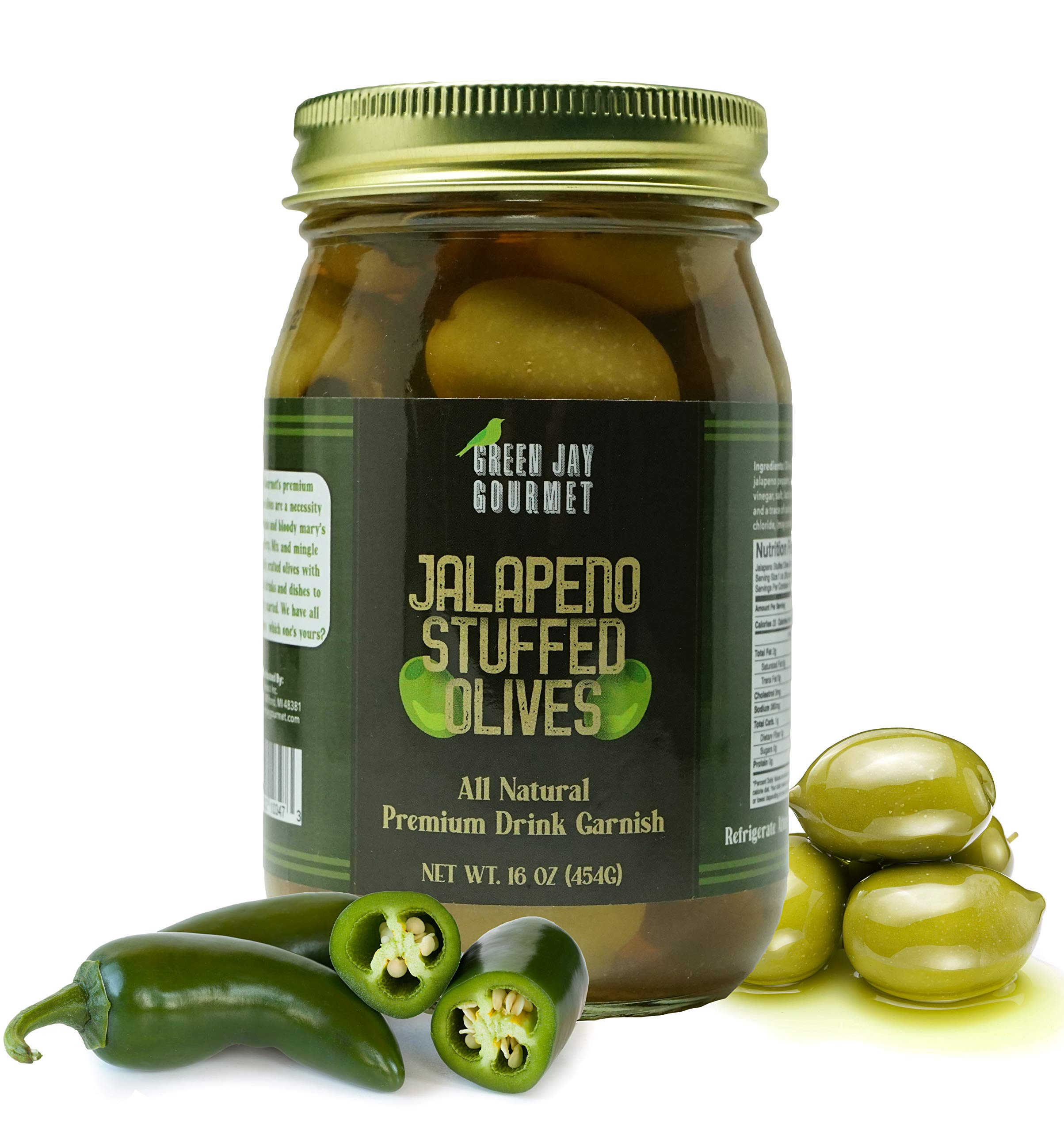 Green Jay Gourmet Jalapeno Stuffed Olives – Stuffed Green Olives for Cocktail Garnish & Cheese Board Recipes – Dirty Martini Olives & Cocktail Olives – Gourmet Olives – All Natural – Large – 16 Ounces