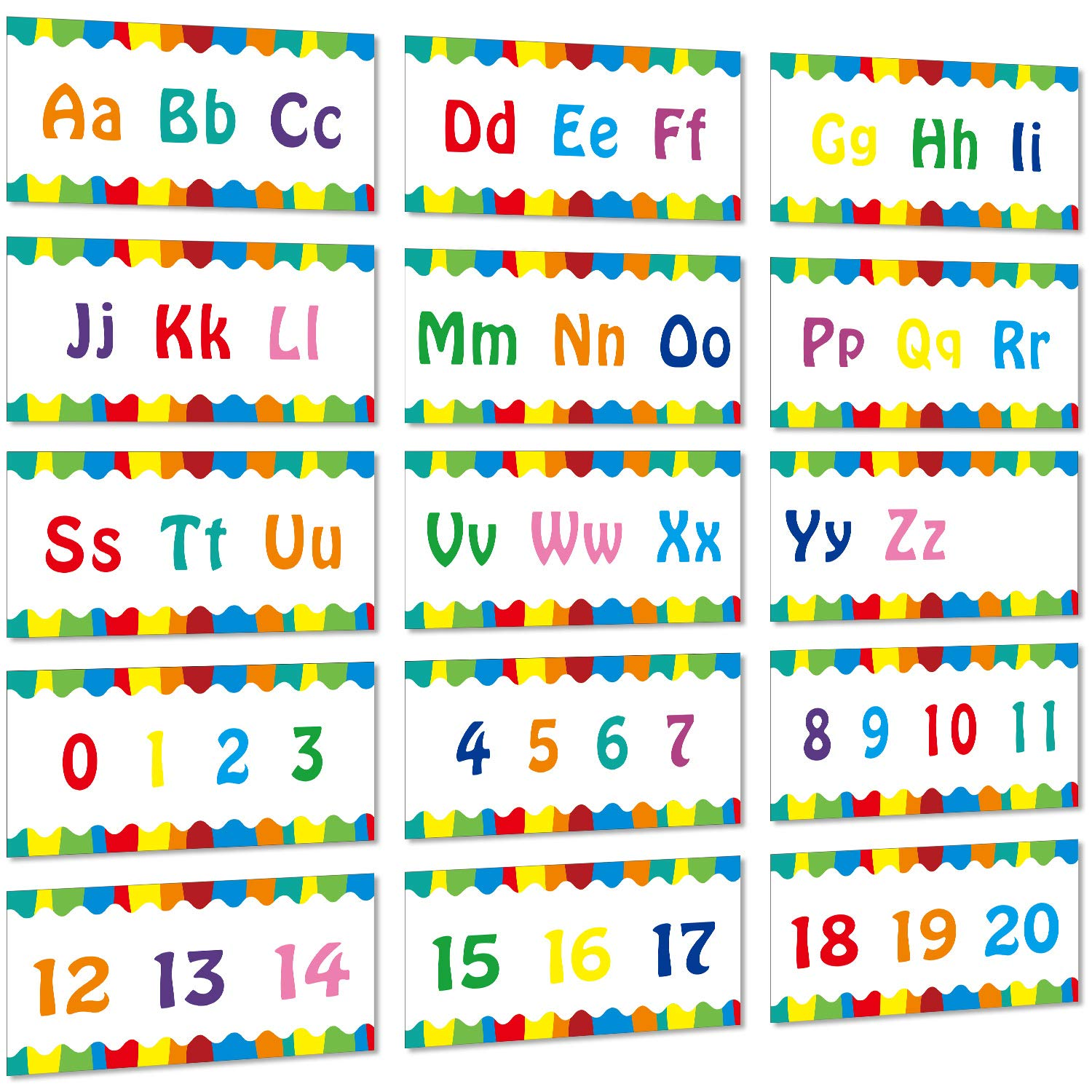 Alphabet Banner Number Banner Alphabet Wall Classroom Decorations Bulletin Board Border with Adhesive Glue Point Dots for Toddler Kids Students