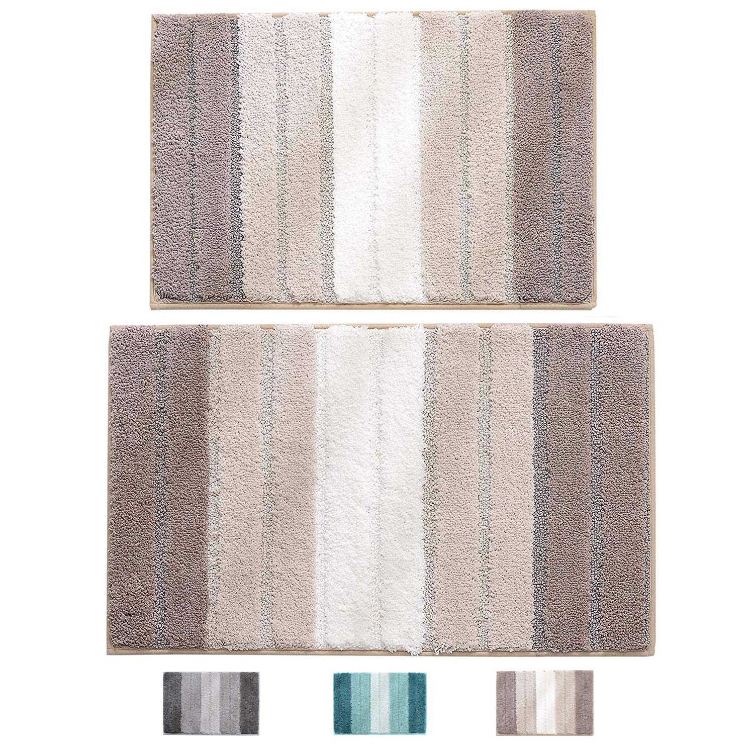 "wovwvool Bathroom Rugs Plush mat Polyester Microfiber Non-Slip,Soft,Absorbent and Machine (20""×32"" and 18""×26"" Brown)"
