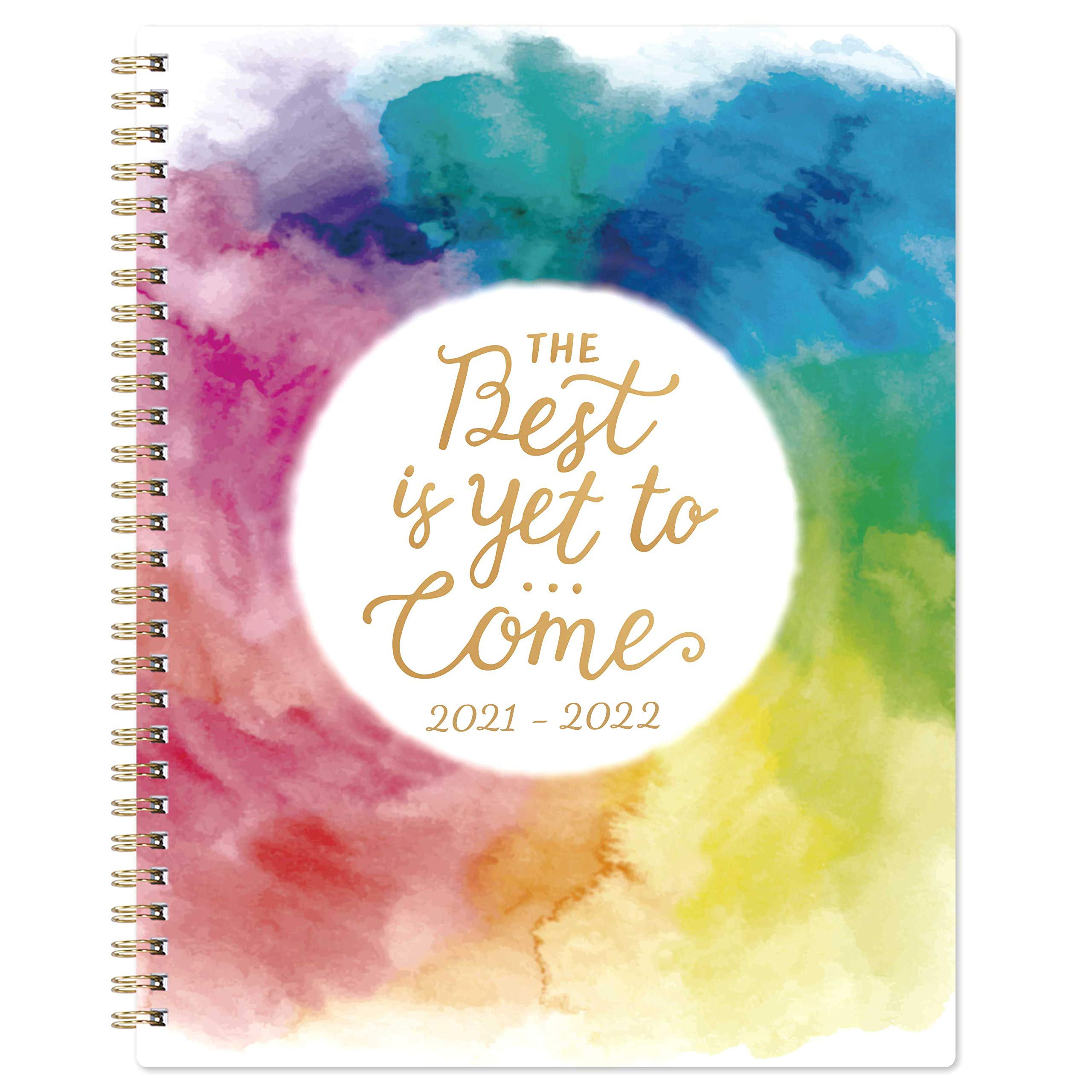 """2021-2022 Planner - Academic Weekly & Monthly Planner, 8"""" x 10"""", Jul. 2021 - Jun. 2022, Twin-Wire Binding, Thick Paper with Marked Tabs + to-Do List + Info Page + Holidays - Watercolor Ink"""
