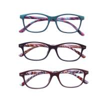 Reading Glasses 3 Pairs Stylish Readers Spring Hinge Anti Fatigue Computer Reading Glasses for Men and Women (1.0 Strength)