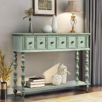 Console Table Ancent Sofa Table Entryway Table with Two Drawers and Bottom Shelf Antique Design Sideboard Table for Living Room,Hallway,Light Minit Green
