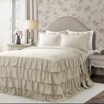 Lush Decor Neutral Allison Ruffle Skirt Bedspread Shabby Chic Farmhouse Style Lightweight 3 Piece Set Full