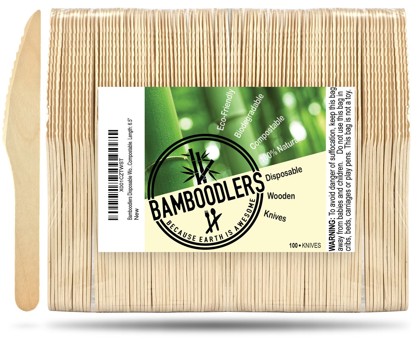 """Disposable Wooden Knives by Bamboodlers   100% All-Natural, Eco-Friendly, Biodegradable, and Compostable - Because Earth is Awesome! Pack of 100-6.5"""" Knives."""