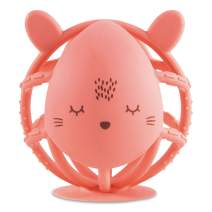 Tiny Twinkle Silicone Teether Toy - Coral Bunny - BPA Free Multi Textured, Suction Base teether Ball for Baby, Infants, Toddlers - Soothes Gums, Easy to Grasp, Safe to chew for Newborn +