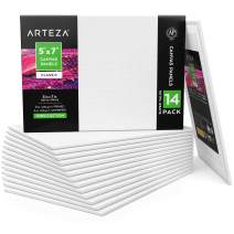"Arteza Canvas Panels 5x7"" White Blank Bulk Pack of 14 Boards, Primed, 100% Cotton for Acrylic Painting, Oil Paint & Wet Art Media, Canvases for Professional Artist, Hobby Painters & Beginners"