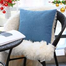 """Soft Large Accent Blue Throw Pillow Covers 22"""" x 22"""" (No Insert),Cozy Corduroy Corn Square Pattern Pillow Case Covers,Plush Velvet Cushion Covers with Hidden Zipper for Couch/Sofa/Bedroom"""