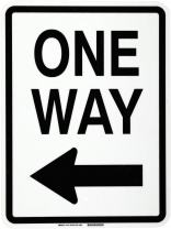 "Brady 75161 18"" Width x 24"" Height B-120 Premium Fiberglass, Black on White Traffic Sign Standard, Legend ""One Way"" (with Picto)"