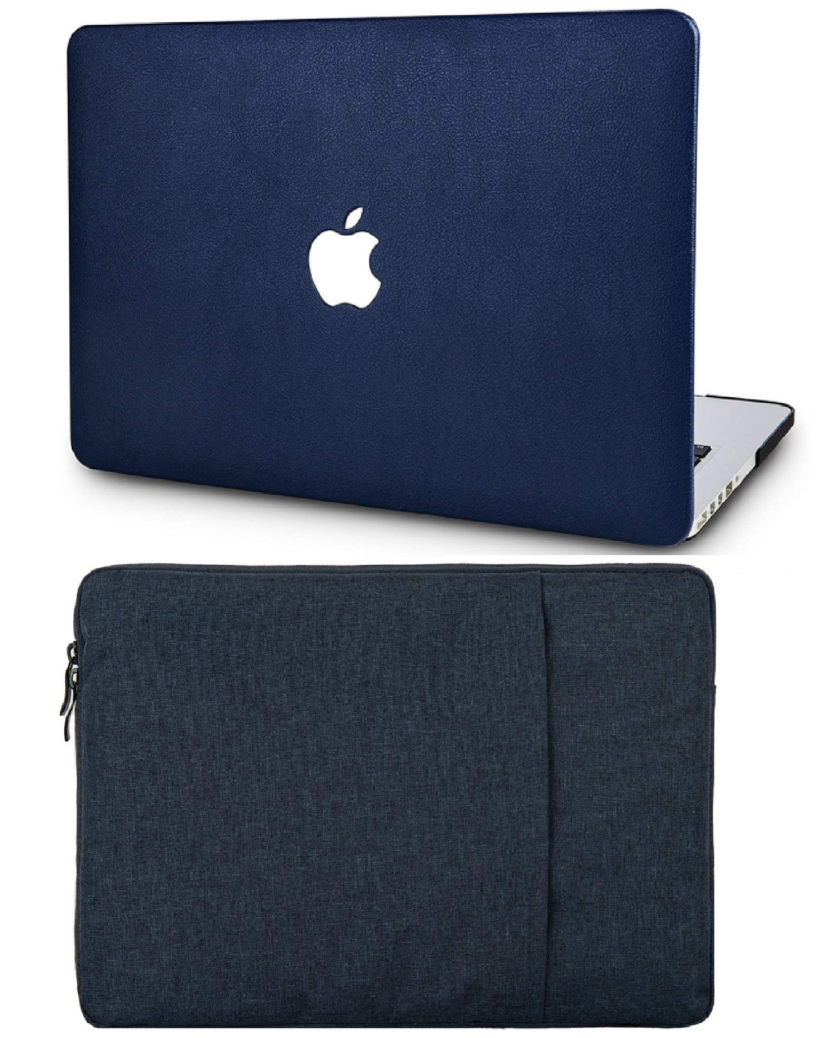 """KECC Laptop Case for MacBook Air 13"""" with Sleeve Italian Leather Case A1466/A1369 2 in 1 Bundle (Dark Blue Leather)"""