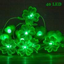 Lauva St Patrick's Day Decoration Lights, Four-Leaf Irish Lucky Clove Shamrock Lights String Battery Operated, Decorative Fairy Lights 10ft 40LEDs with Remote for Home Holiday Wedding Party Decor