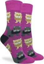 Good Luck Sock Women's Persian Cats Crew Socks - Purple, Adult Shoe Size 5-9
