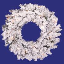 Vickerman Pre-Lit Flocked Alaskan Pine Wreath with 50 Clear Dura-Lit Lights, 24-Inch, Flocked White on Green