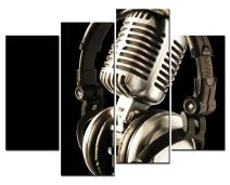 SmartWallArt - Music Artistic Paintings Wall Art Metal Microphone and Headset 4 Panel Picture Print on Canvas for Modern Home Decoration