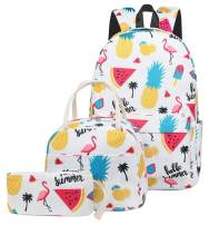 School Backpacks Girls Backpack Kids Bookbags with Insulated Lunch Box Pencil Pouch Casual Daypack (pineapple flamingo white)