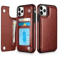 HianDier Wallet Case for iPhone 11 Pro Slim Protective Case with Credit Card Slot Holder Flip Folio Soft PU Leather Magnetic Closure Cover for 2019 iPhone 11 Pro, Brown