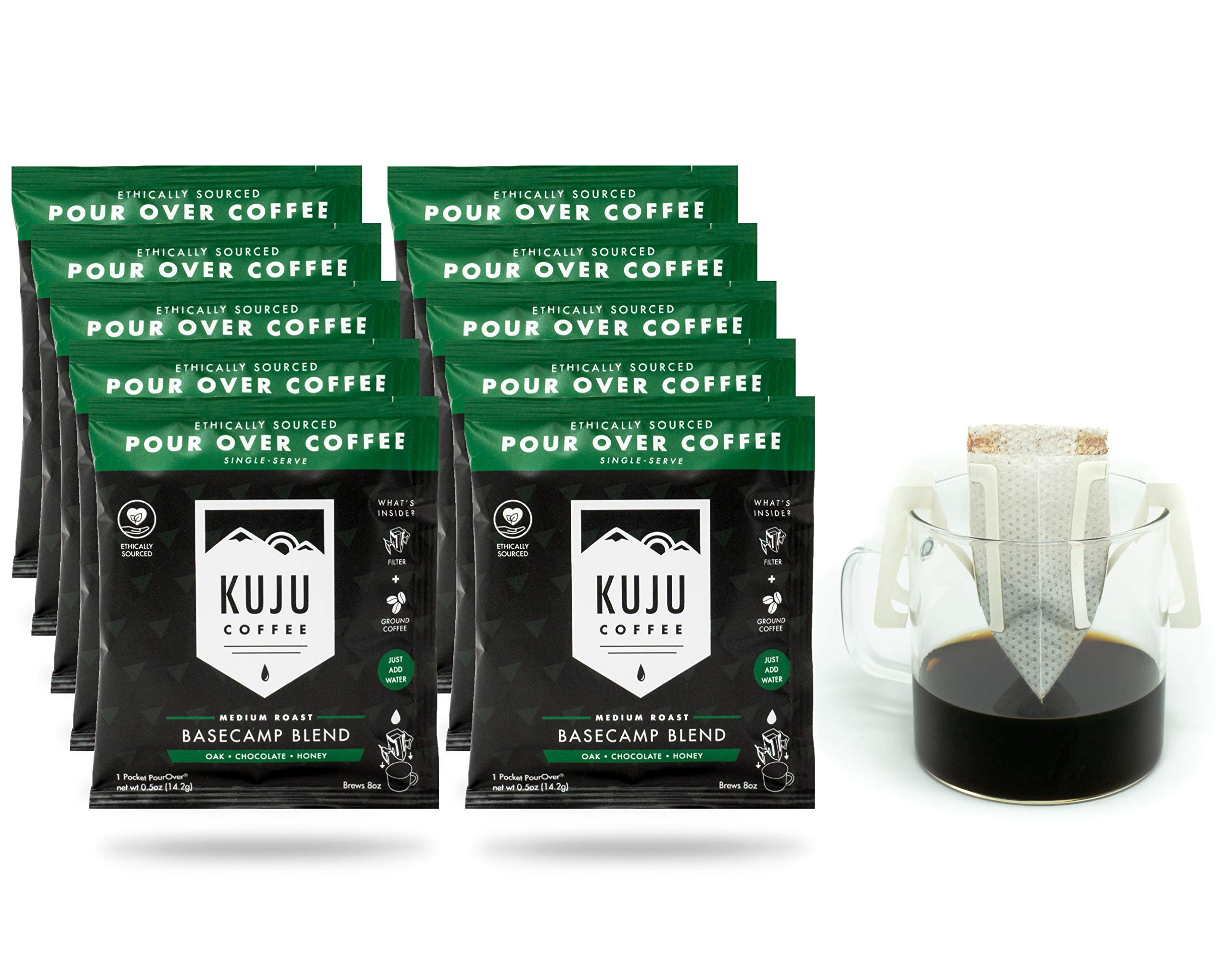 Kuju Coffee Premium Single-Serve Pour Over Coffee   Ethically Sourced, Specialty Grade, Eco-Friendly   Basecamp Blend, Medium Roast, 10-pack