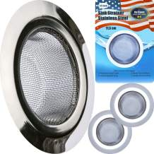 """Kitchen Sink Strainer 4.5"""" Stainless Steel Sink Strainer - 2 PC Strong Clean Reliable Stainless Steel Prevent Rust Edges Deep Mesh, Quick Outflow - 4.5"""" x 2.75"""" x Deep 1.5"""""""