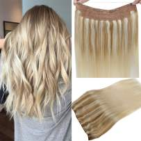 """【Prime】LaaVoo Remy Flip Human Hair 12"""" Adjustable Invisible Wire Halo Hair Extensions Balayage Ash Blonde to Light Blonde and Platinum Blonde 80 Grams 11inch Width (#18/22/60)"""