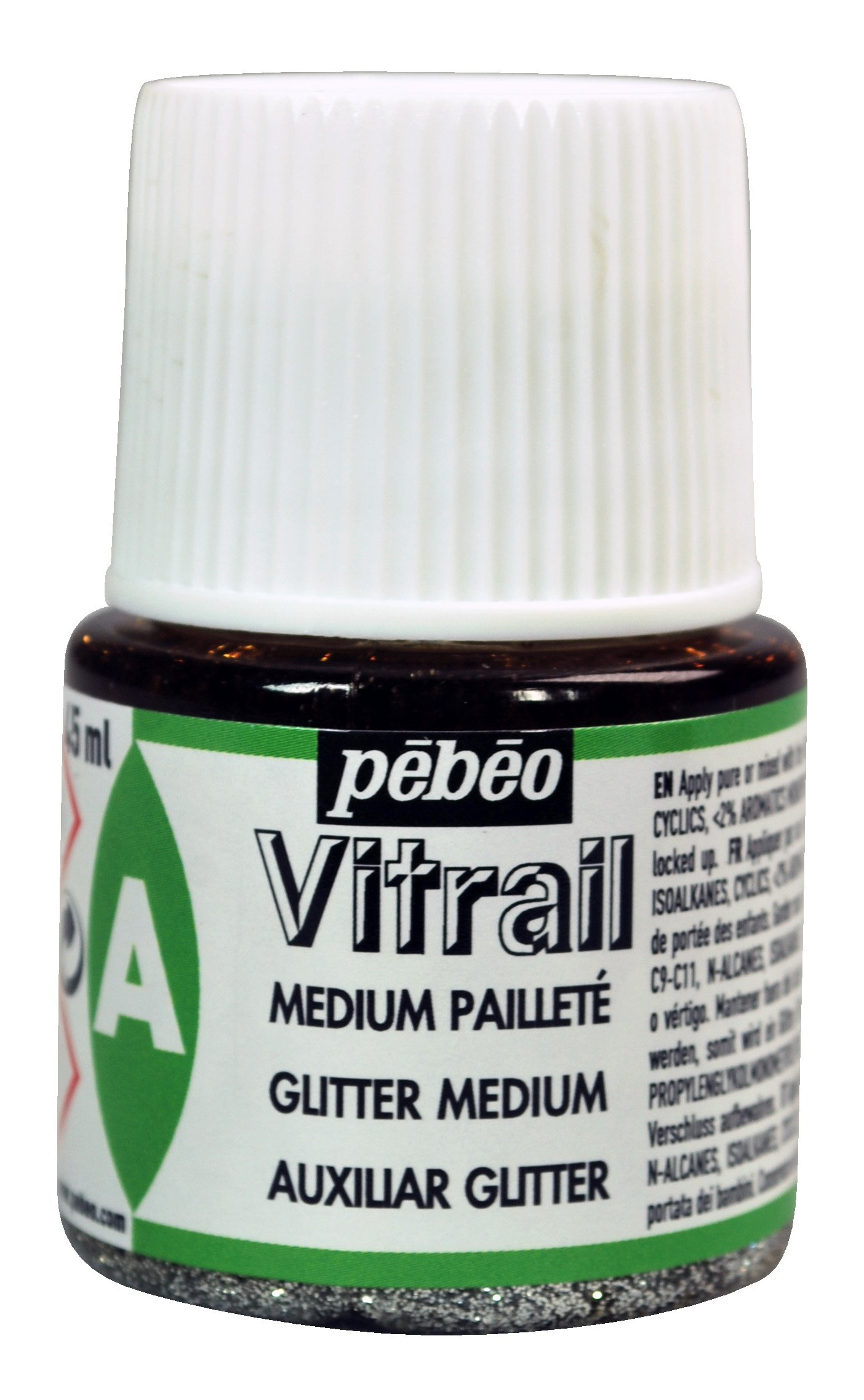 Pebeo Vitrail, Stained Glass Effect Paint Auxiliaries, 45 ml Bottle - Glitter Medium