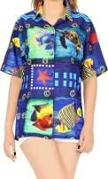 HAPPY BAY Womens Relaxed Hawaiian Shirt Blouse Tops Button Down Shirt 3D Printed
