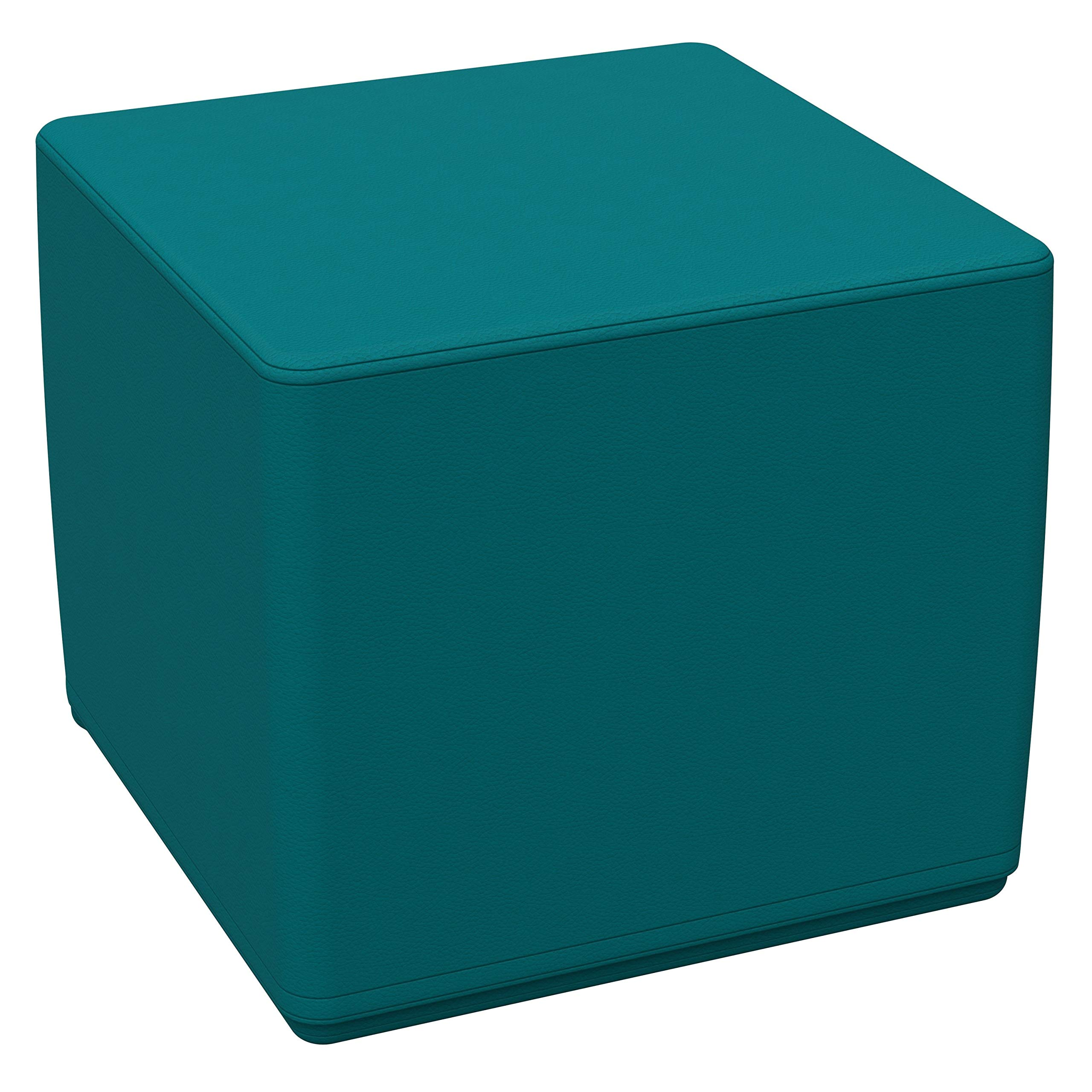 """FDP SoftScape 18"""" Square Ottoman, Collaborative Flexible Seating for Kids, Teens, Adults Furniture for Classrooms, Libraries, Offices and Home, Standard 16"""" H - Teal"""