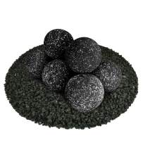 Ceramic Fire Balls | Set of 8 | Modern Accessory for Indoor and Outdoor Fire Pits or Fireplaces – Brushed Concrete Look | Midnight Black, Speckled, 5 Inch