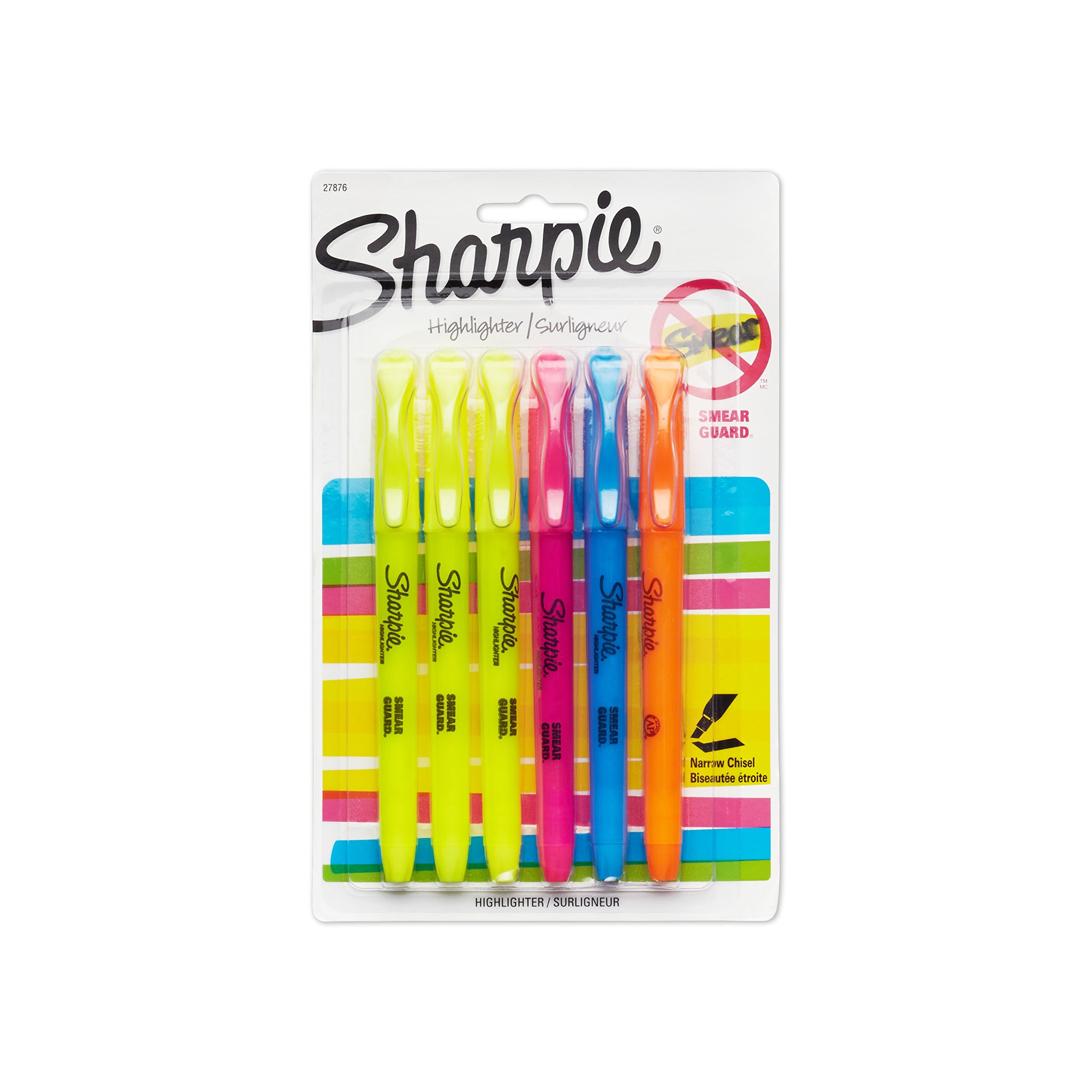 Sharpie Accent Pocket-Style Highlighters, 6 Colored Highlighters (27876PP)