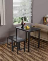 Hooseng Small Dining Table Set for 2 - Kitchen Room Furniture | Compact Design | Sturdy Structure | Easy Assembly | Height 30'', Black