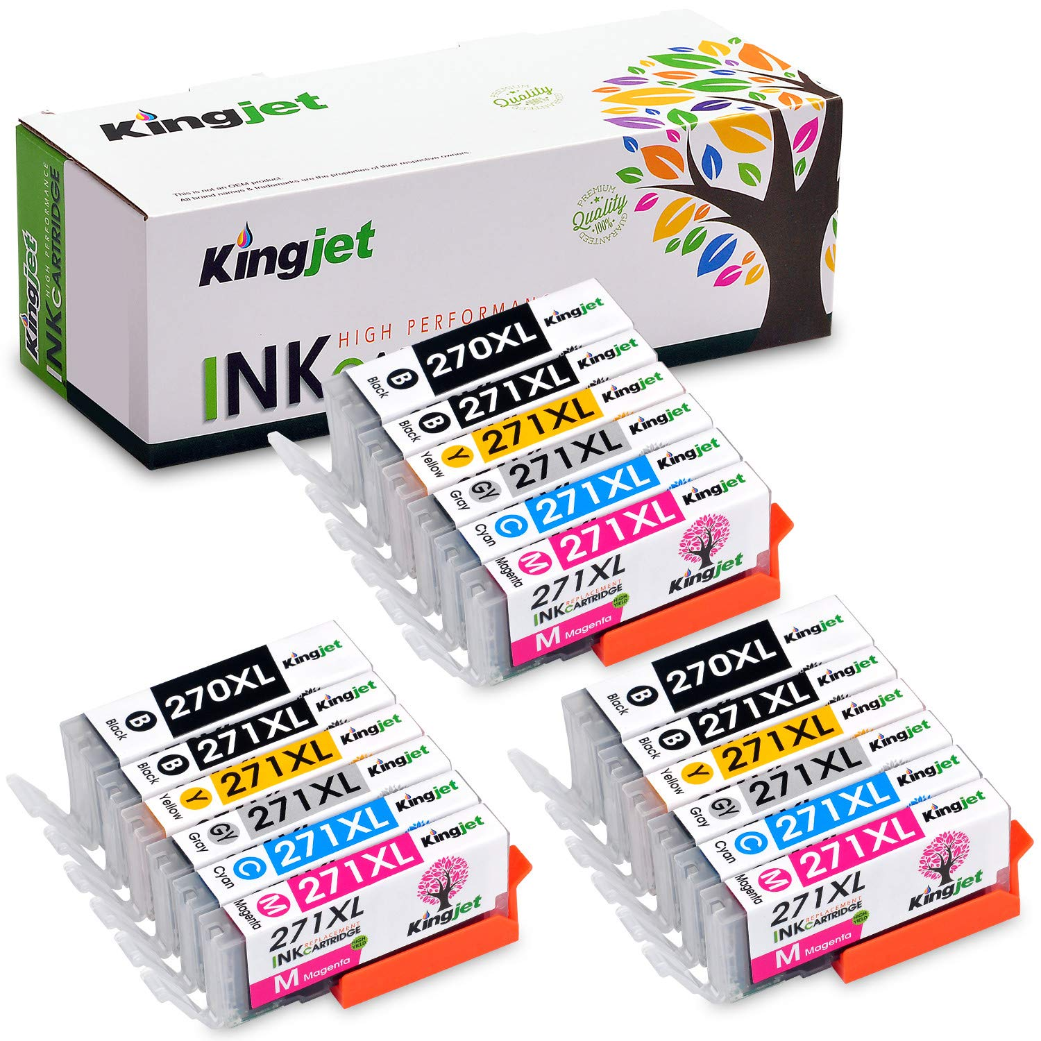 Kingjet Compatible Replacements for PGI-270 CLI-271, PGI-270XL CLI-271XL Ink Cartridges, 3 Sets High Yield Replacements with Gray Ink (6 Color) for Pixma MG7720 TS8020 TS9020 Printer