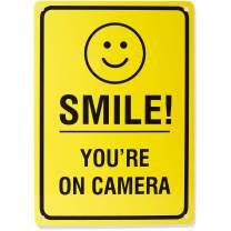 "AmazonBasics Video Surveillance Sign, Smile You're on Camera, 14"" x 10"""