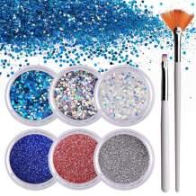 Makartt 6 Boxes Nails Glitter Powder Flakes, Fine Sequin Glitter Powder for Nails, Nail Art Glitter Kit with 1PCS Glitter Nail Flat Brush and 1PCS Fan Brush