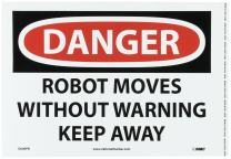 """NMC D606PB OSHA Sign, Legend """"DANGER - ROBOT MOVES WITHOUT WARNING KEEP AWAY"""", 14"""" Length x 10"""" Height, Pressure Sensitive Vinyl, Black/Red on White"""