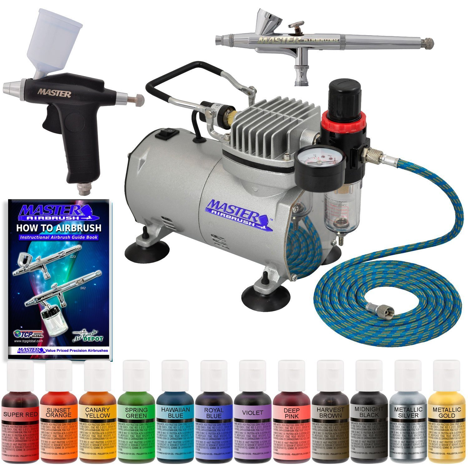 Master Airbrush Twin(2) Airbrush Cake Decorating Airbrush Kit with a 12 Color U.S.Cake Supply .5 Oz Food Color Set, Airbrush Depot 1 Year Warranty Air Compressor and 6 Foot Air Hose and Now Includes a (FREE) How to Airbrush Training Book to Get You Started