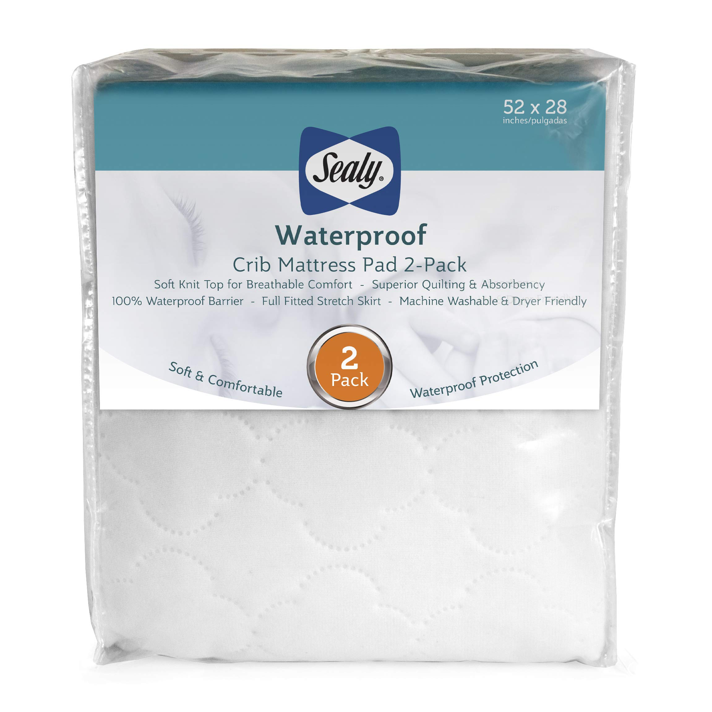 Sealy Waterproof Fitted Toddler and Baby Crib Mattress Pad Cover 2-Pack - 100% Waterproof, White