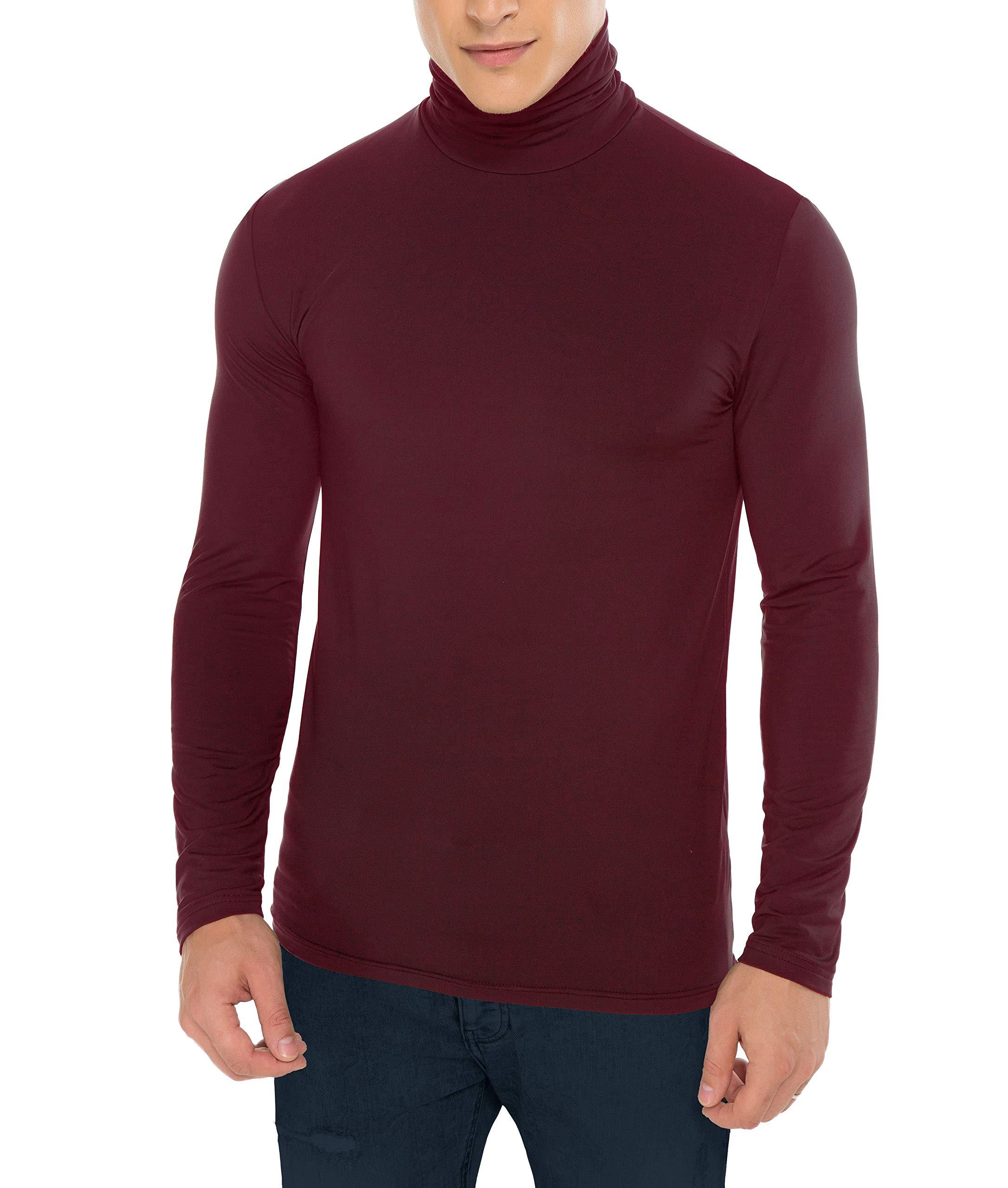 Derminpro Men's Stretchy Turtleneck Long Sleeve Slim Fit Thermal T-Shirt Burgundy Large