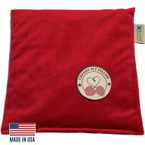 KOYA Naturals Velvet Heating Pad Microwavable - Cherry Pit/Stone/Seed Pillow Heat Pack for Neck, Muscles, Joints, Stomach Pain, Menstrual Cramps - Warm Wrap - Moist Heat Therapy (Square, Crimson Red)