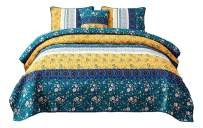 DaDa Bedding Bohemian Patchwork Bedspread - Cotton Bed of Wild Flowers Garden - Botanical Floral Quilted Coverlet Set - Bright Vibrant Yellow Blue Teal Green - King - 3-Pieces