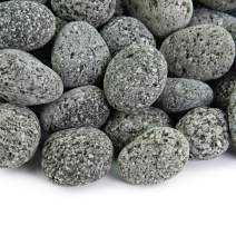 Black 2 Inch - 4 Inch Fire Rock   Fireproof and Heatproof Round Pebbles for Indoor or Outdoor Gas Fire Pits and Fireplaces - Natural, Hand-Picked Stones   10 Pounds