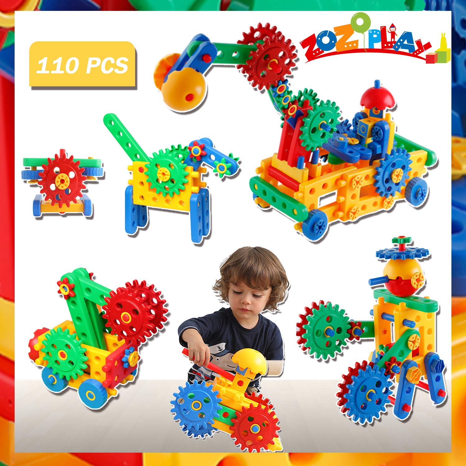 ZoZoplay STEM Toys 110 Piece Gear Toys Building Set for Kids, Learning Educational Engineering Construction Blocks, Build Excavator Horse & Buggy, Stem Toys for 3 4 5 6 7 Year Old Boys Girls