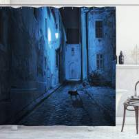 """Ambesonne Urban Shower Curtain, Black Cat Crossing Deserted Street at Night Mysterious Old European Town Alley, Cloth Fabric Bathroom Decor Set with Hooks, 70"""" Long, Black and White"""