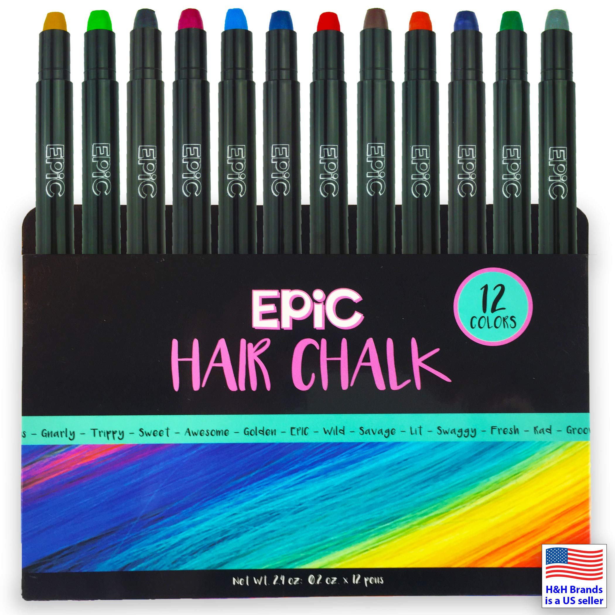 EPIC: Hair Chalk for Girls & Boys - 12 Large Pens - Vibrant Colors for Light & Dark Hair - Temporary Hair Color for Kids, Teens and Adults - Face Paint - Washable - Non Toxic - A Great Gift Idea