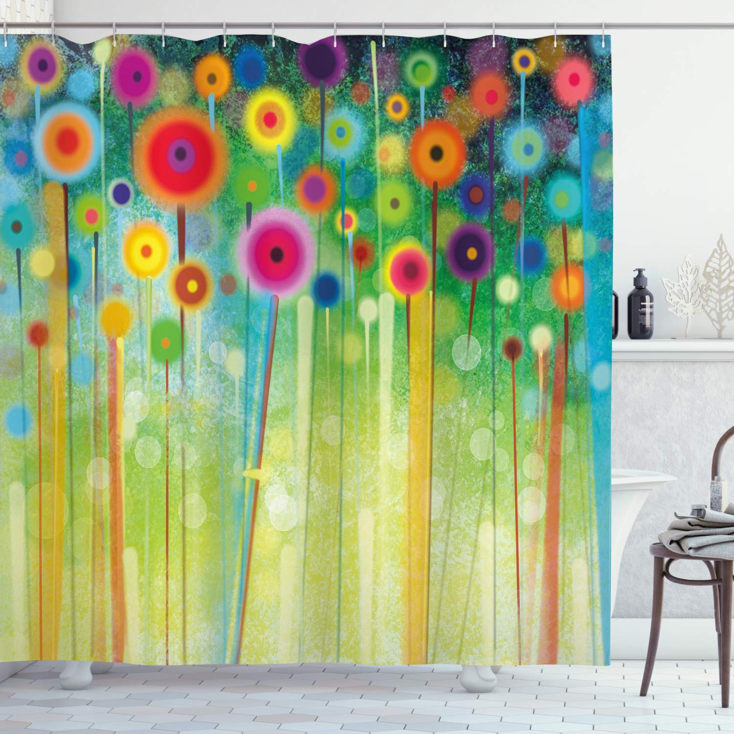 """Ambesonne Flower Shower Curtain, Abstract Dandelion Inspired Spiral Blooms Petals Geometrical Shapes Nature Art Theme, Cloth Fabric Bathroom Decor Set with Hooks, 75"""" Long, Pale Green"""