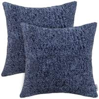 PAULEON Throw Pillow Covers 22x22 – Sherpa, Melange Classic Blue, Set of 2 – Decorative Cushion Cases – Perfect for Couch, Sofa, Bed, Accent Pillows