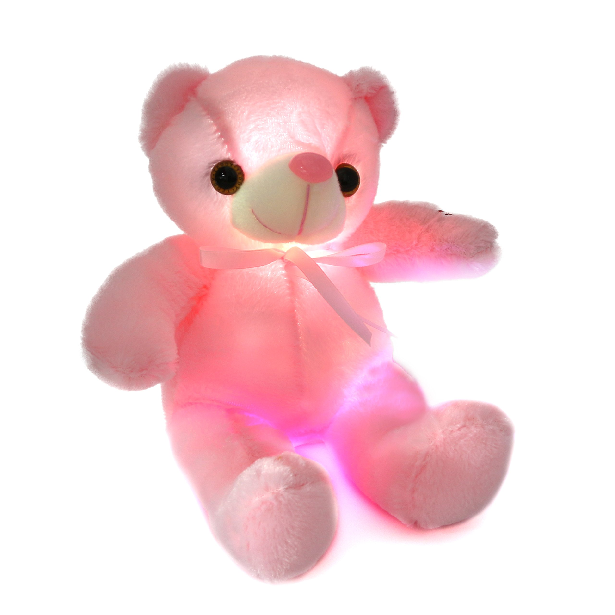 Houwsbaby Glow Teddy Bear with Bow-tie Stuffed Animal Light Up Plush Toys Gift for Kids Girlfriend Holiday Birthday Express Love, 12 inch (Pink)