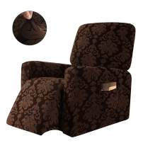 CHUN YI 1-Piece Elegant Jacquard Recliner Chair Cover,Stretch Spandex Sofa Slipcovers Covers,Furniture Protector with Elastic Bottom Side Pocket Fit for Living Room (Chocolate)