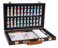 Studio 71 34-Piece Watercolor Painting Set – Deluxe Art Set with Portable Wooden Case, Ideal for All Skill Levels – Travel Art Kit Keeps Supplies Neatly Organized, Makes a Great Gift