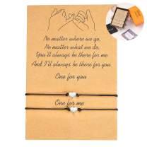 WBRWP Pinky Promise Adjustable Bracelets Set : Friendship Handmade Meaning Distance Matching Bracelet Gift for Best Friend Couple Lover Girls, Adjustable Cord Bracelets