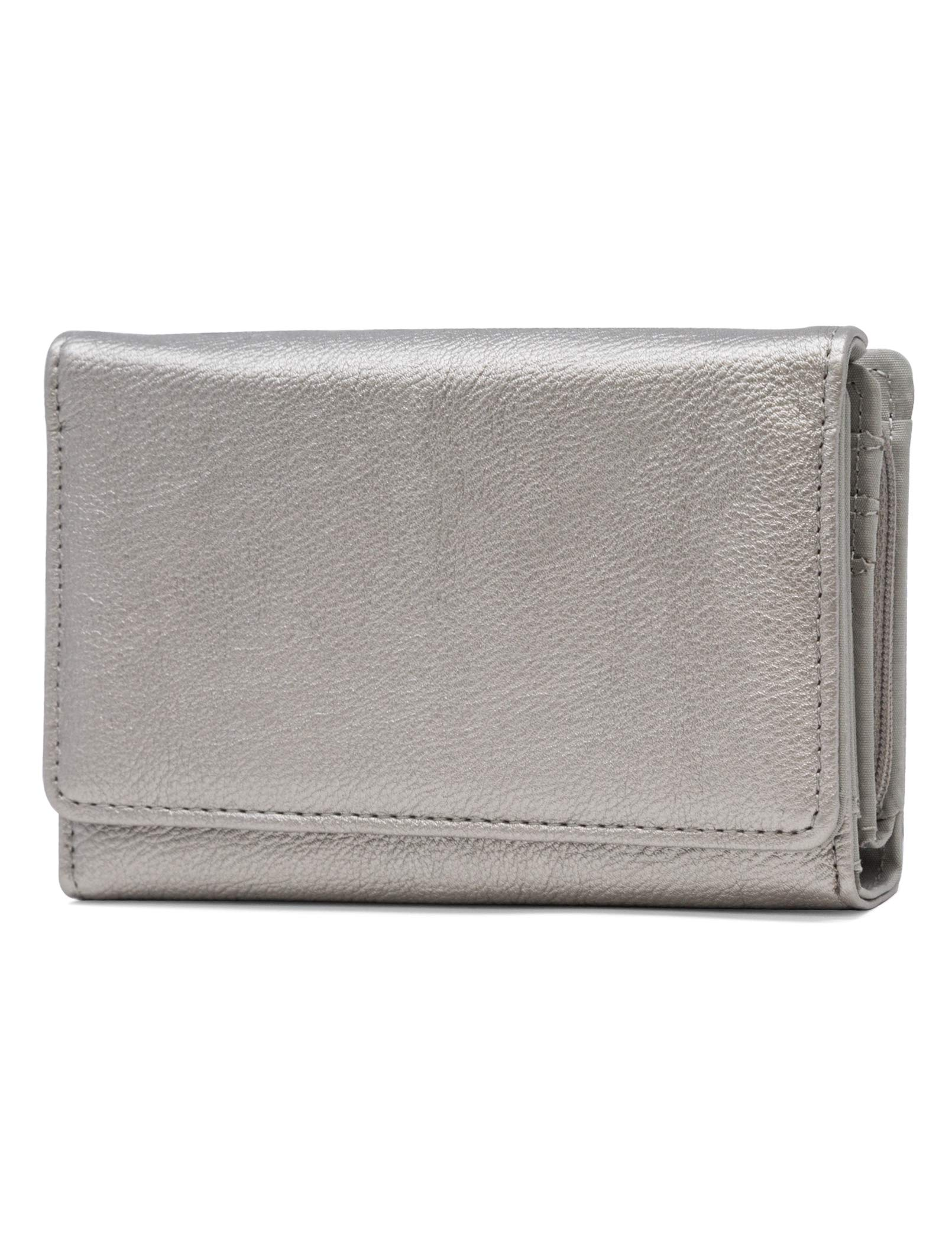 Mundi Small Womens RFID Blocking Wallet Compact Trifold Safe Protection Clutch With Change Purse ((Pewter))