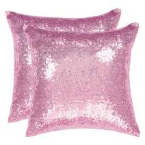 uxcell Pack of 2,Sequin Throw Pillow Covers,Shiny Sparkling Comfy Satin Cushion Covers,Decorative Pillowcases for Party/Christmas/Thanksgiving/New Year,16 x 16 NCH,Shiny Pink